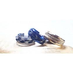 Bague Onyxia acier bleu